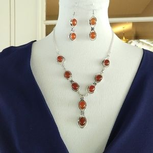 Beautiful natural carnelian stamped 925 necklace s
